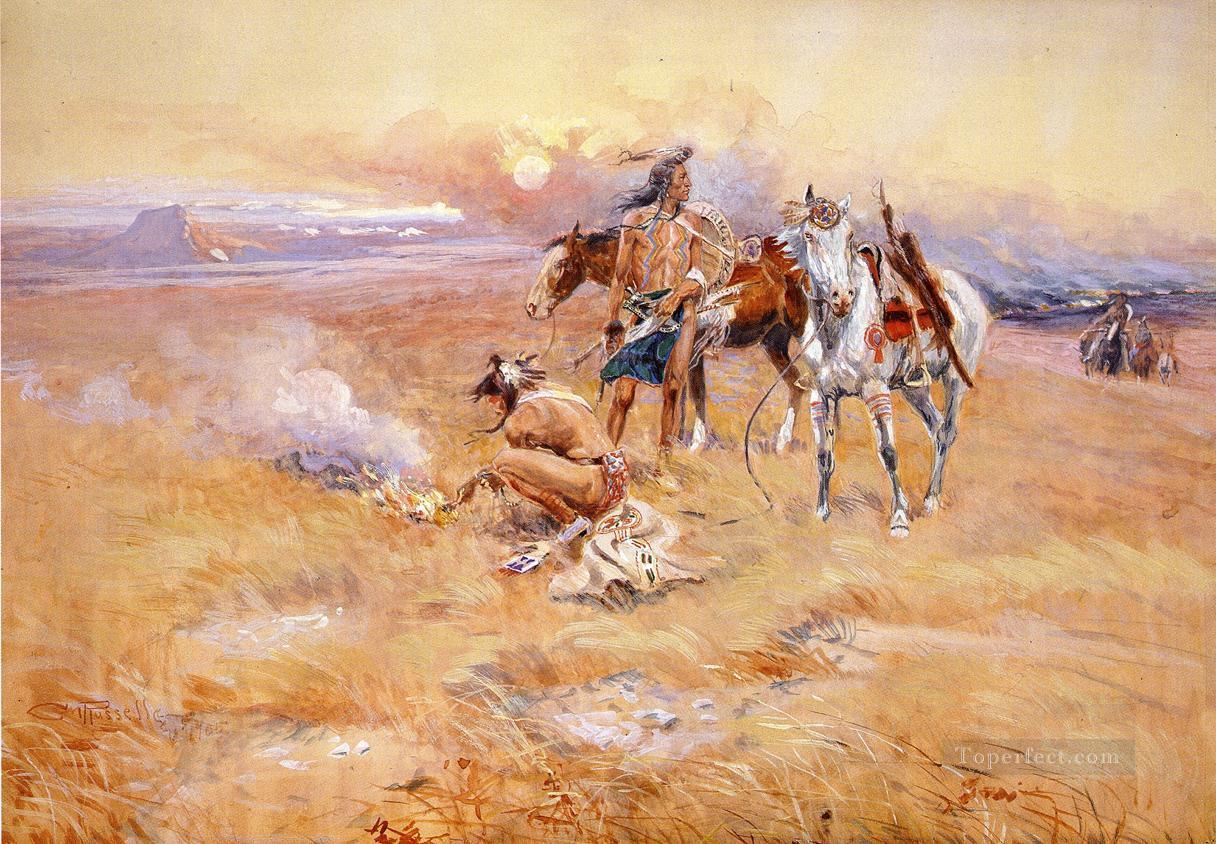 Blackfeet Burning Crow Buffalo Range cowboy Charles Marion Russell Indiana Oil Paintings