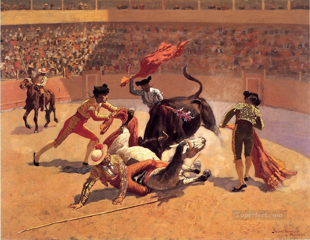 Bull Fight in Mexico Frederic Remington cowboy Oil Paintings