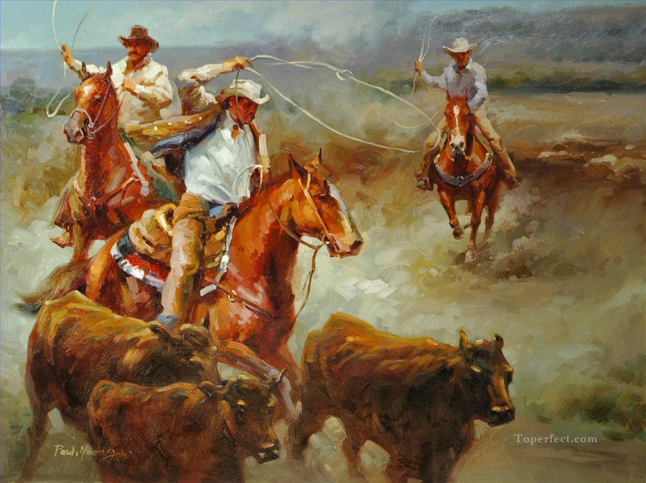 original cowboy western of chase you painting in oil for sale