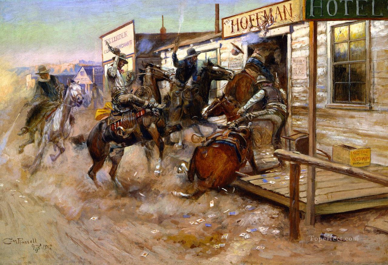 in without knocking 1909 Charles Marion Russell Indiana cowboy Oil Paintings
