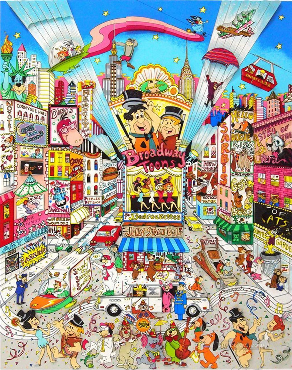 Charles Fazzino Cityscape Cartoon Sport 03 Impressionists Oil Paintings
