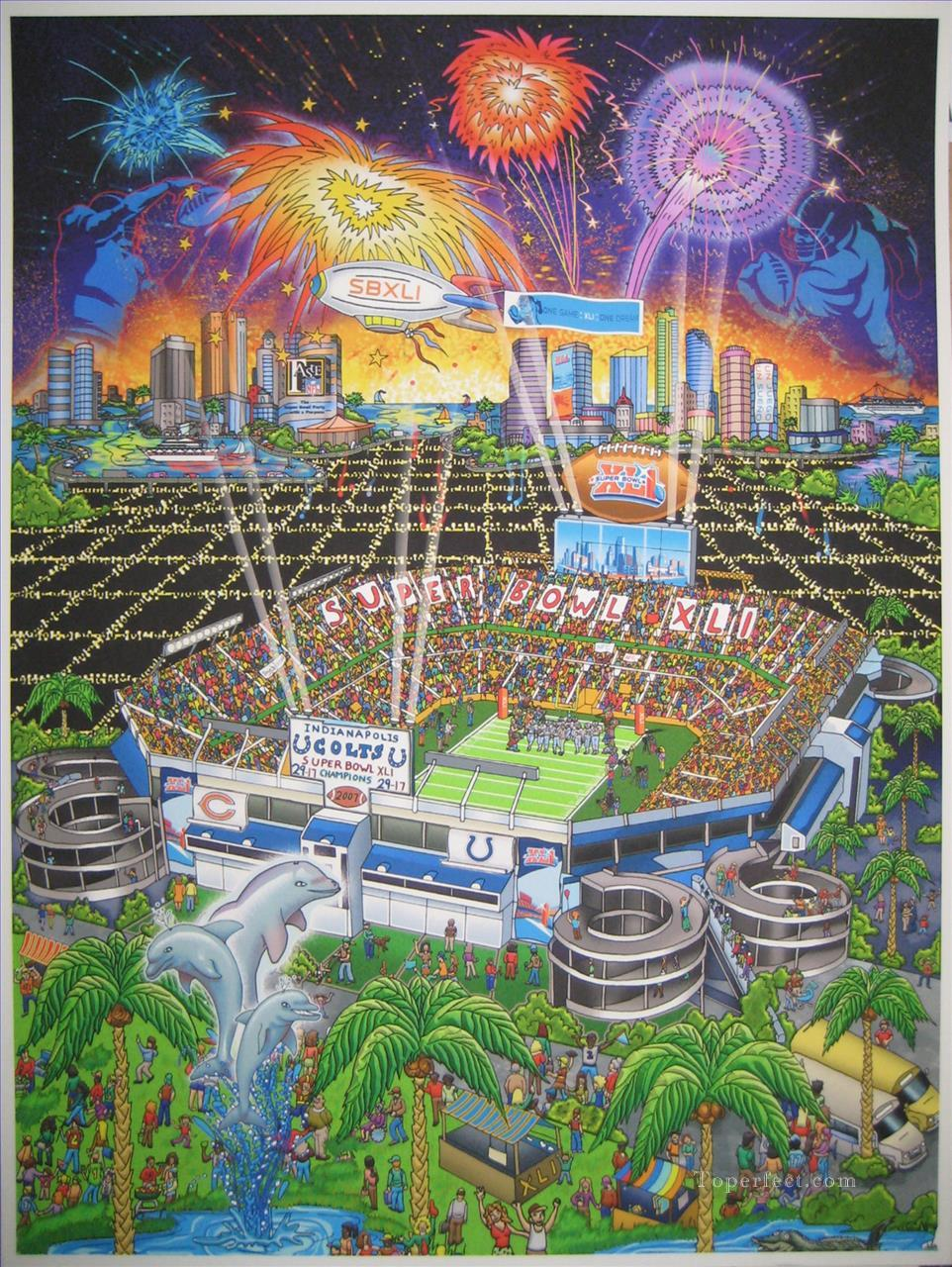 Super Bowl 41 score and logos impressionists Oil Paintings