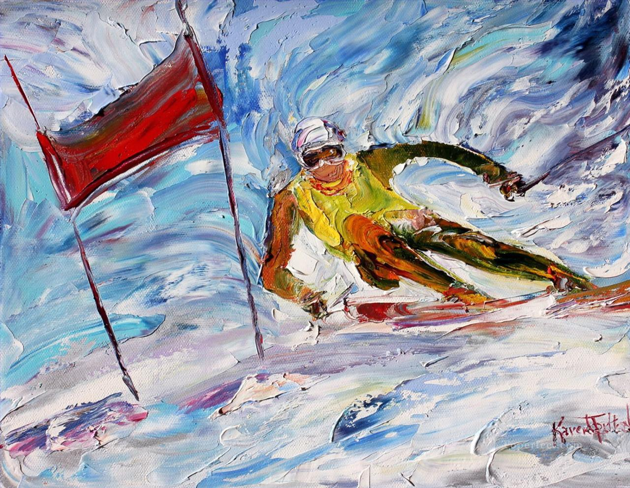 Downhill Ski Racer impressionists Oil Paintings