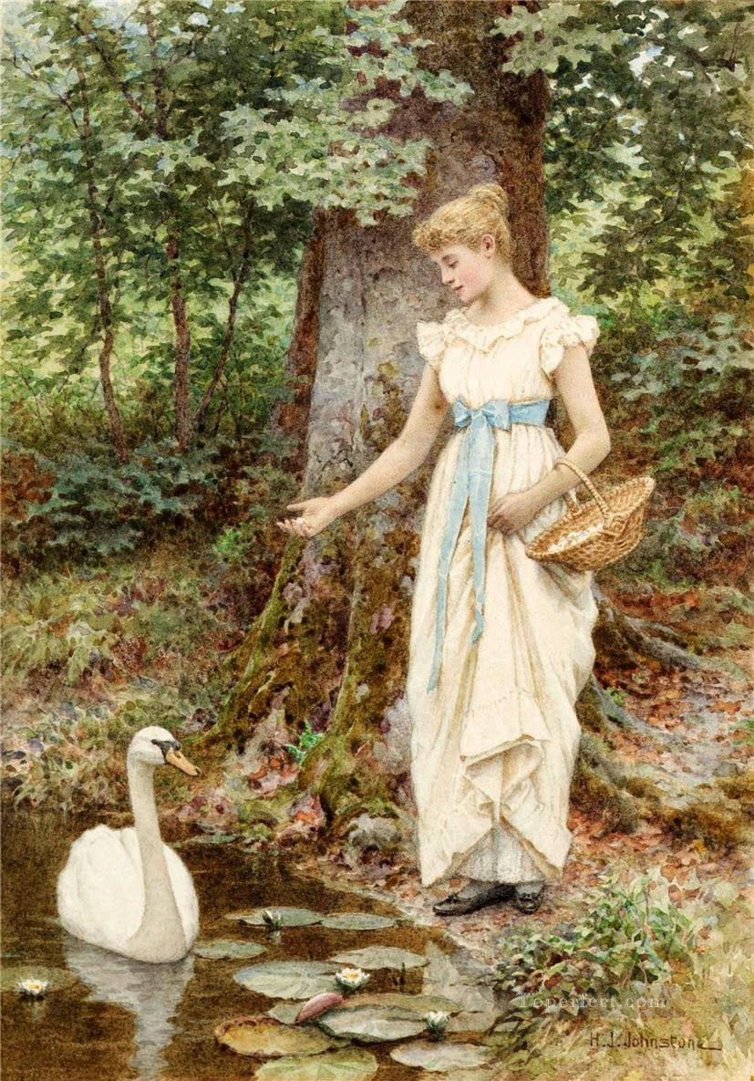 Country Girl by Henry James Johnstone British 02 Impressionist Oil Paintings