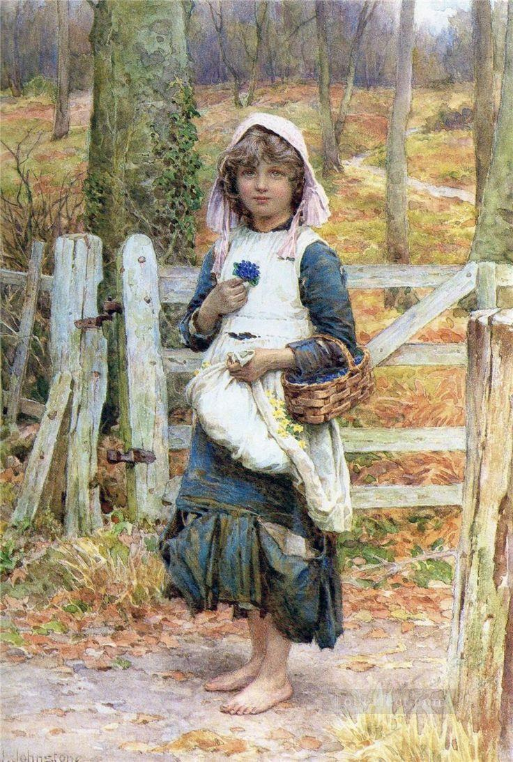 Country Girl by Henry James Johnstone British 07 Impressionist Oil Paintings