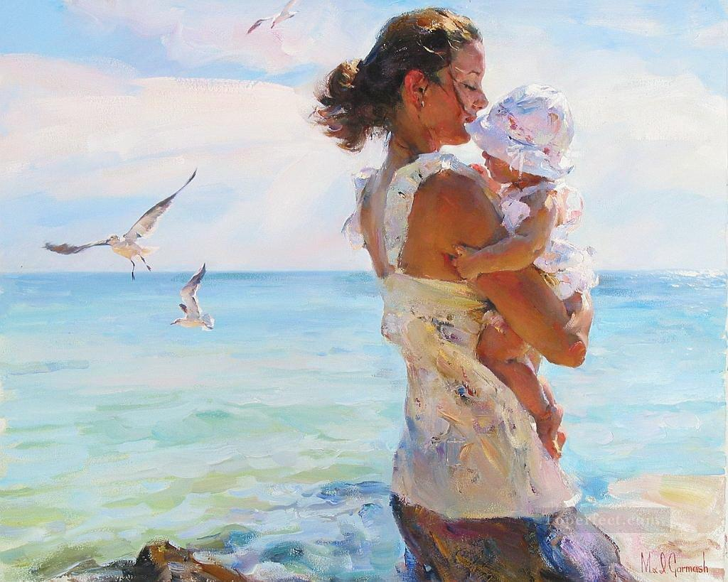 mother and baby on beach seagulls 44 Impressionist Oil Paintings