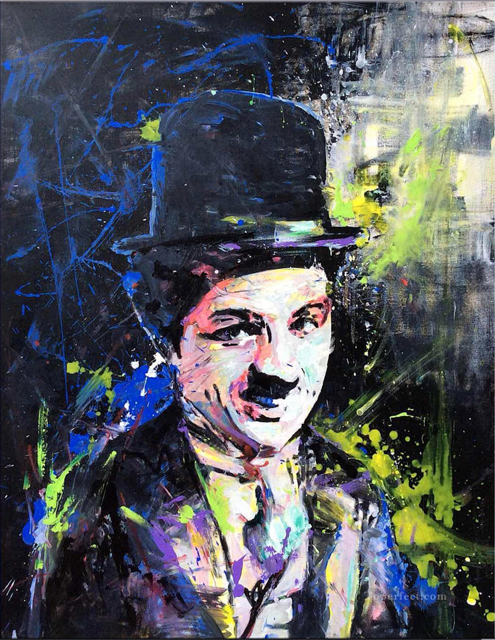 a portrait of Chaplin by knife Oil Paintings