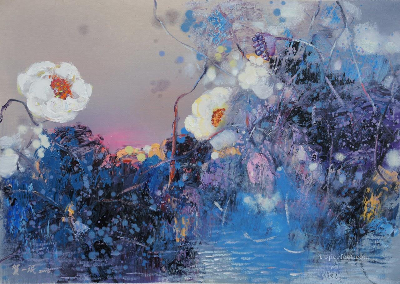 lotus pool 2 by knife Oil Paintings
