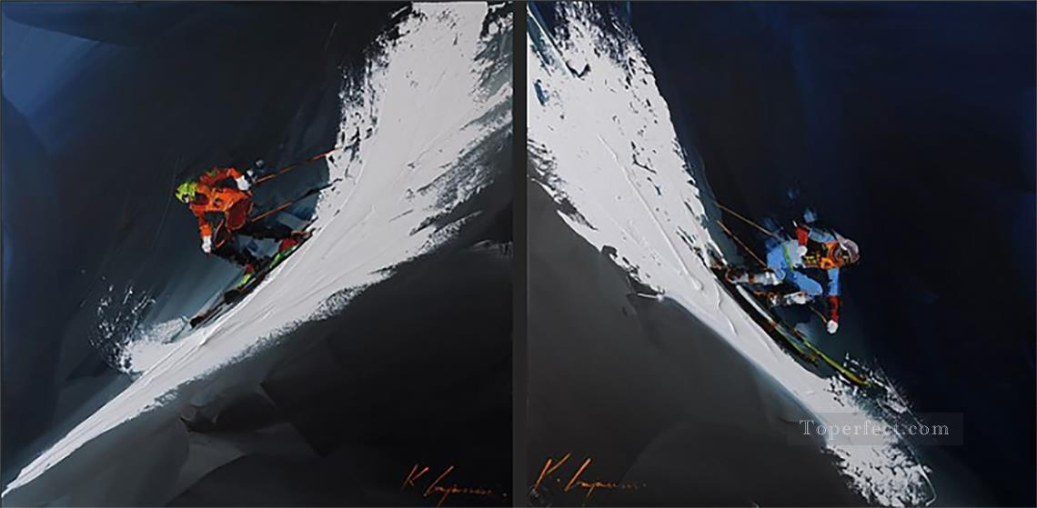 skiing two panels in white KG by knife Oil Paintings
