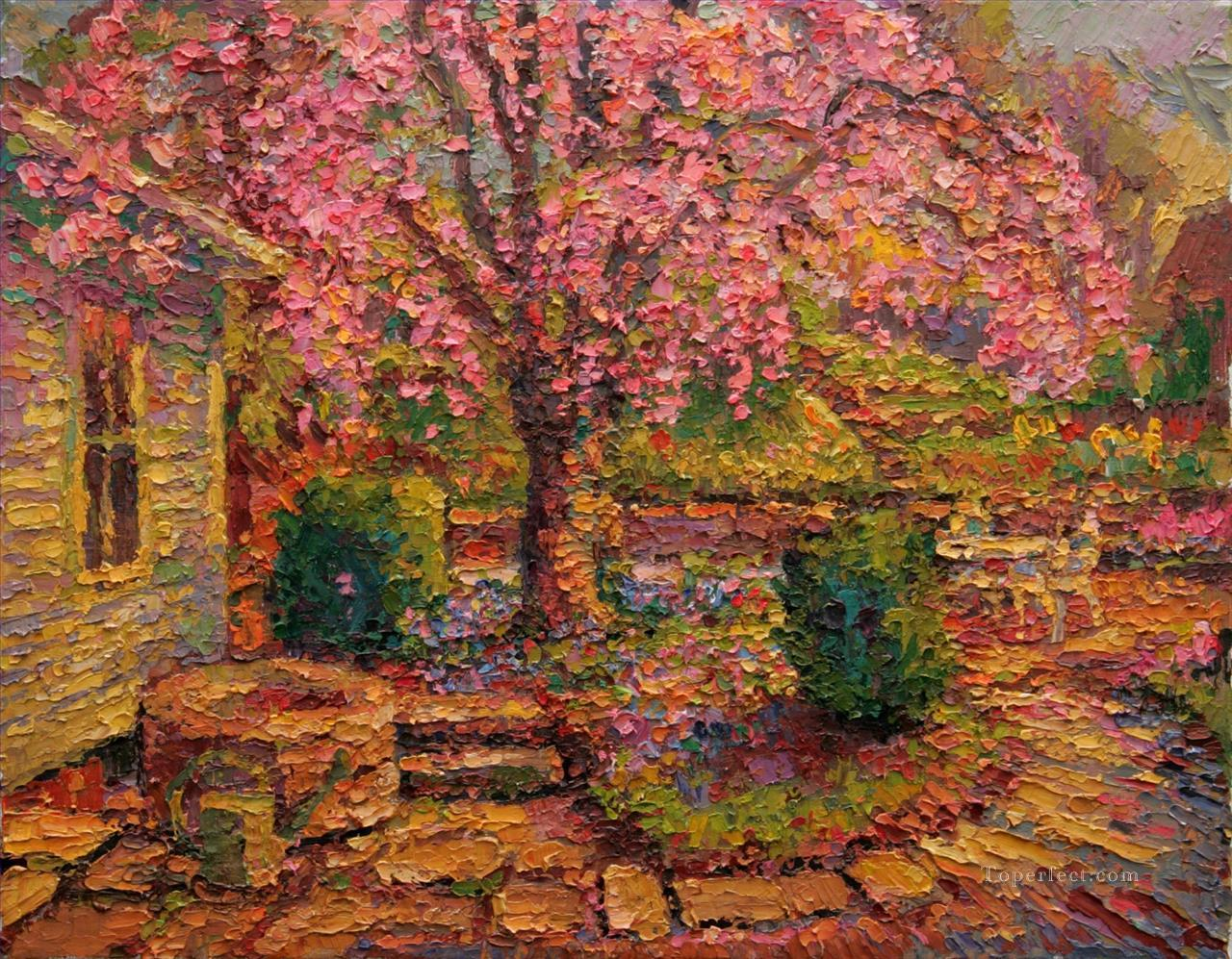 well garden by palette knife Oil Paintings