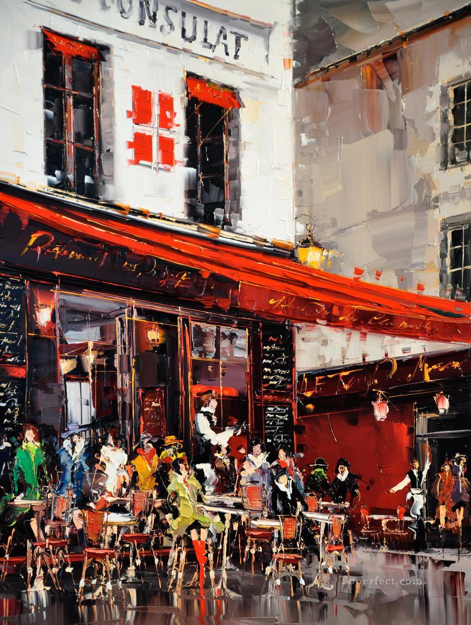 kg le consulate terrasse montmartre paris with palette knife painting in oil for sale. Black Bedroom Furniture Sets. Home Design Ideas