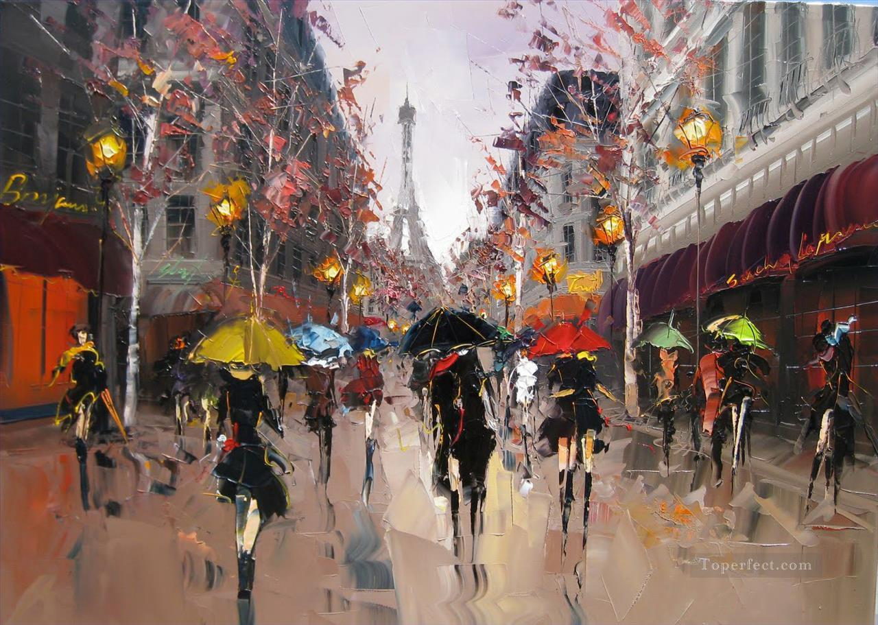 KG Romance in Paris with palette knife Oil Paintings