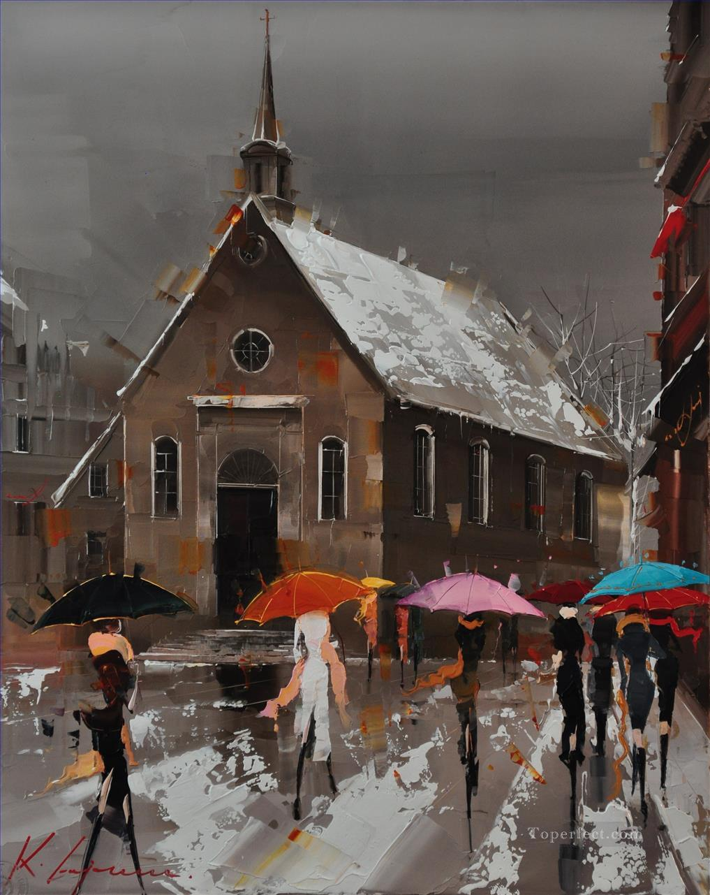 Umbrellas of Quebec KG by knife Oil Paintings