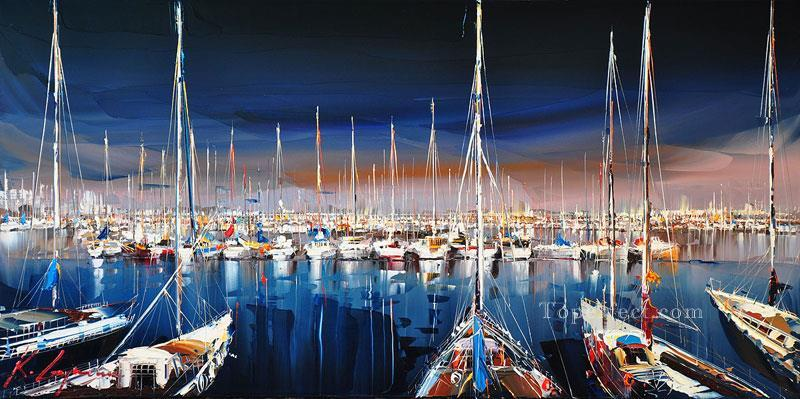 boats in wharf KG by knife Oil Paintings
