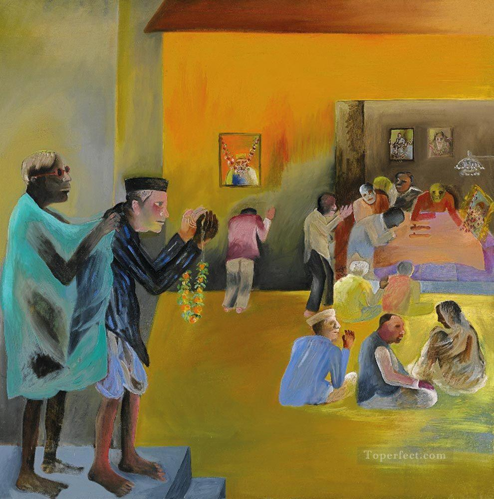 Bk Living Room Indian Painting In Oil For Sale
