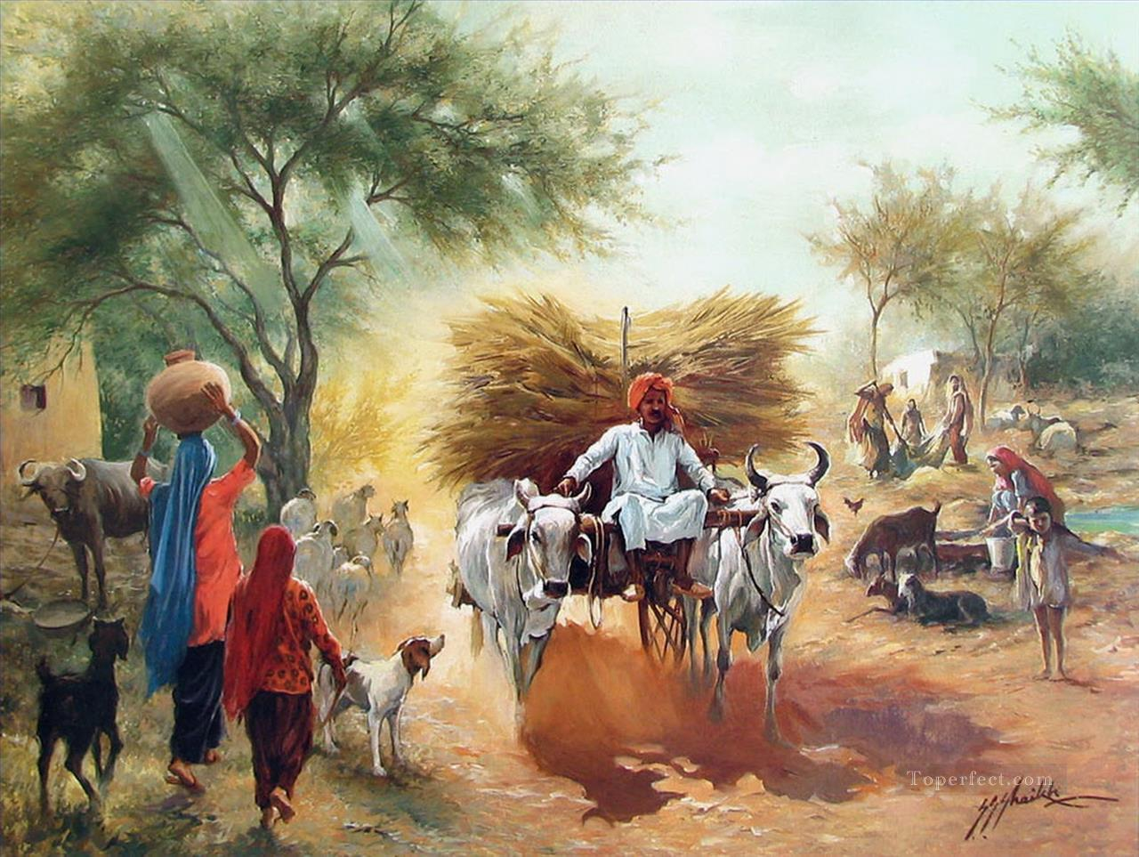 Harvest Season From India Painting In Oil For Sale