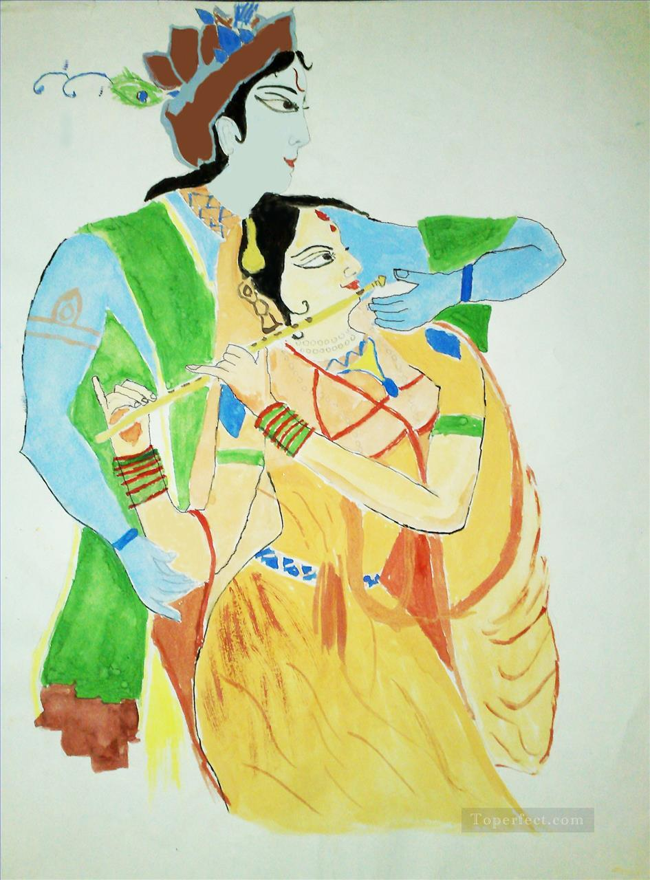 Radha Krishna 40 Hinduism Painting in Oil for Sale