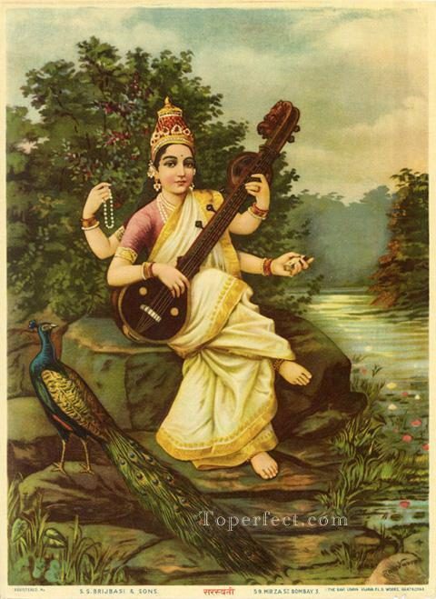 SARASWATI Raja Ravi Varma Indians Oil Paintings