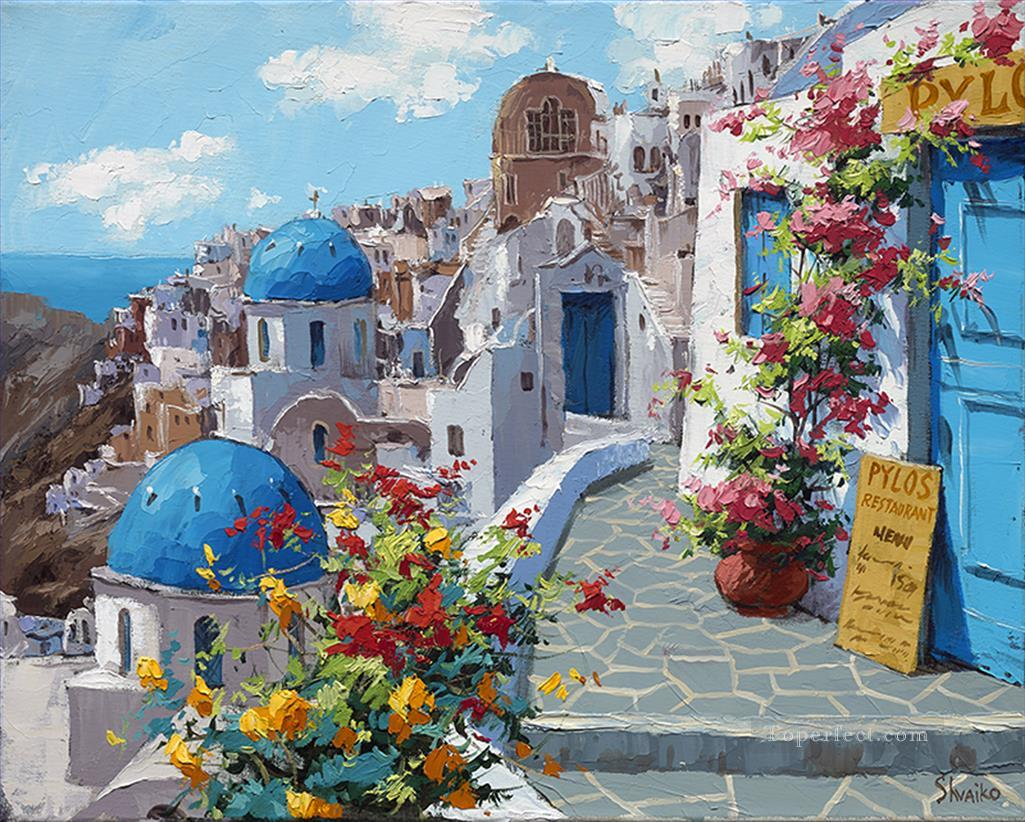 Spring in santorini aegean mediterranean painting in oil for sale - Flowers native to greece a sea of color ...