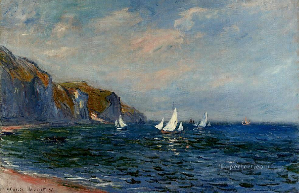 Cliffs and Sailboats at Pourville Claude Monet Beach Oil Paintings