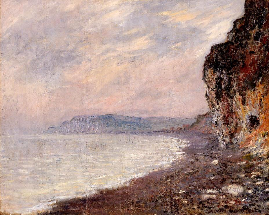 Cliffs at Pourville in the Fog 莫奈 海滩油画、国画