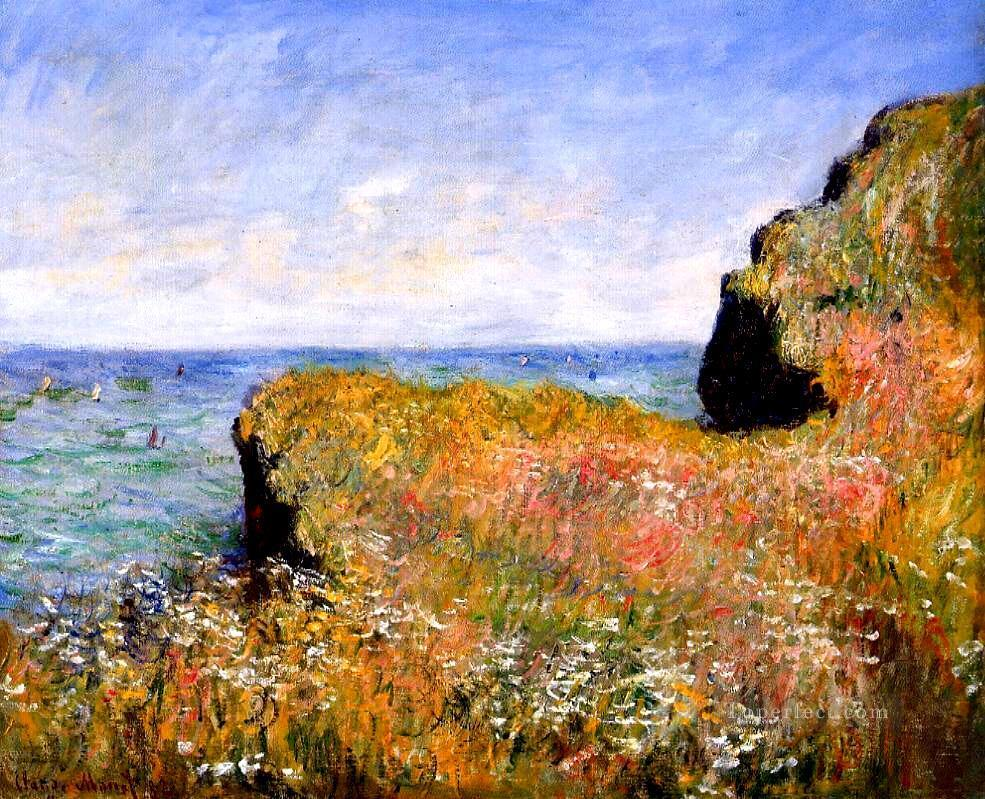 Edge of the Cliff at Pourville Claude Monet Beach Oil Paintings