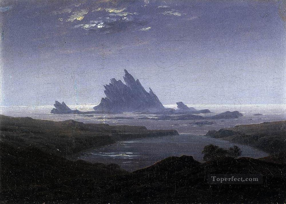 Rocky Reef On The Sea Shore Romantic landscape Caspar David Friedrich Beach Oil Paintings