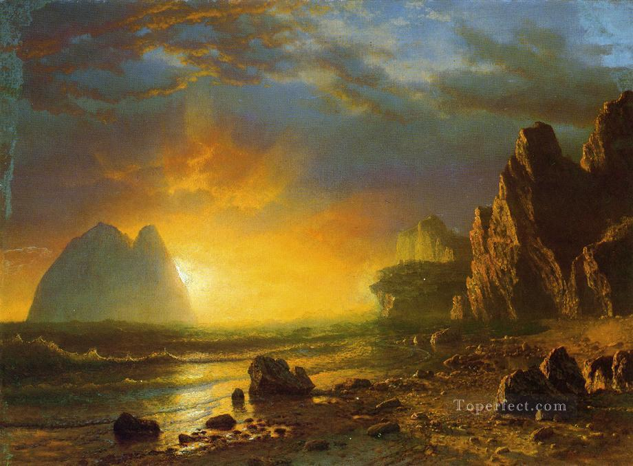 Sunset on the Coast Albert Bierstadt Beach Oil Paintings
