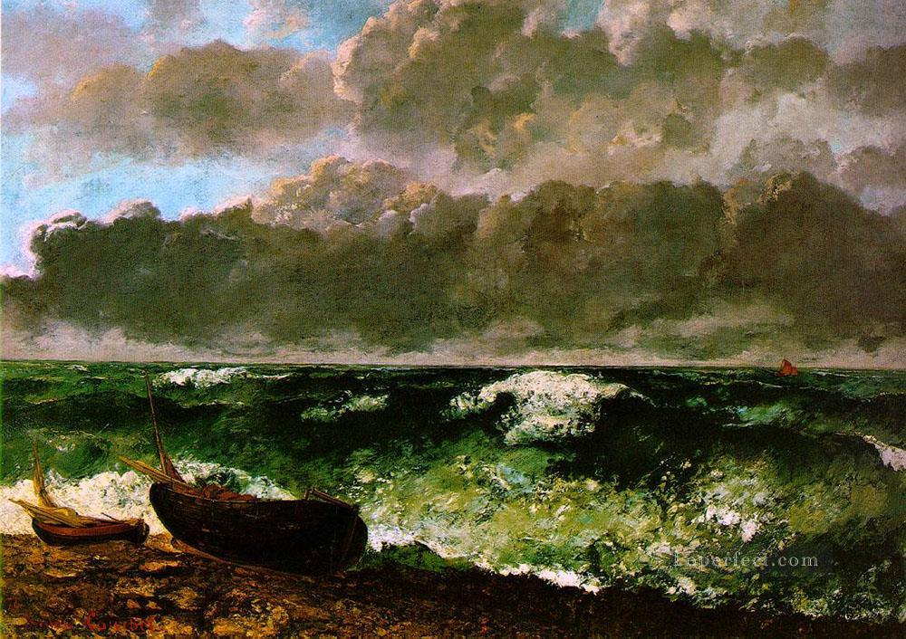The Stormy Sea or The Wave WBM landscape Gustave Courbet Beach Oil Paintings
