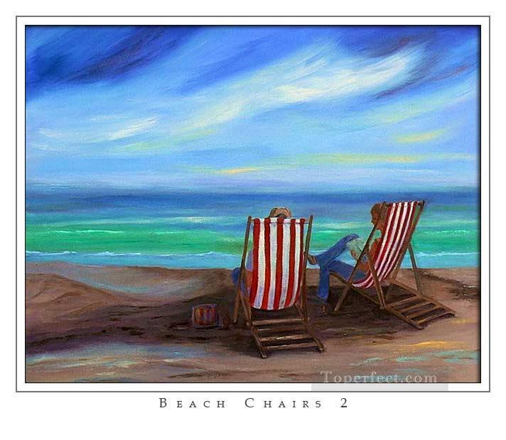 beach chairs Oil Paintings