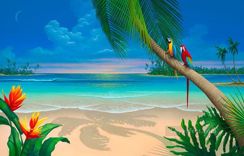 Another Perfect Day of parrot beach Oil Paintings