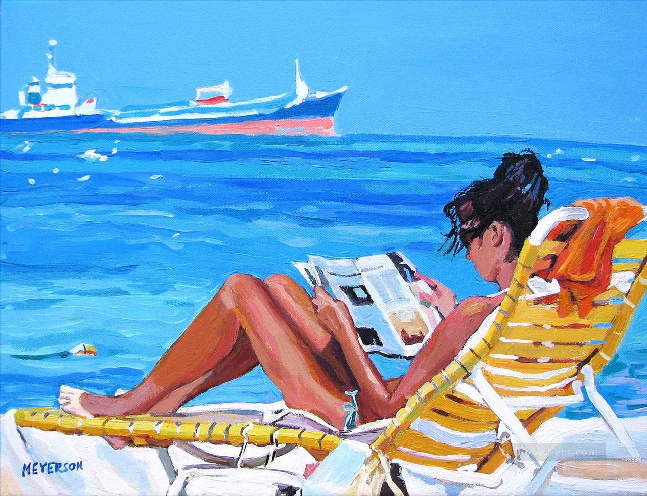 girl reading at beach Oil Paintings