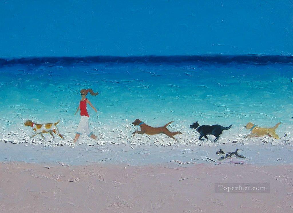 girl with running dogs at beach Oil Paintings