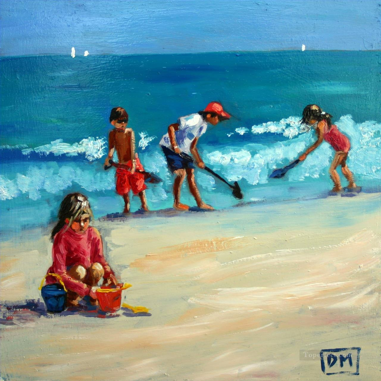 kids digging sands on beach Oil Paintings