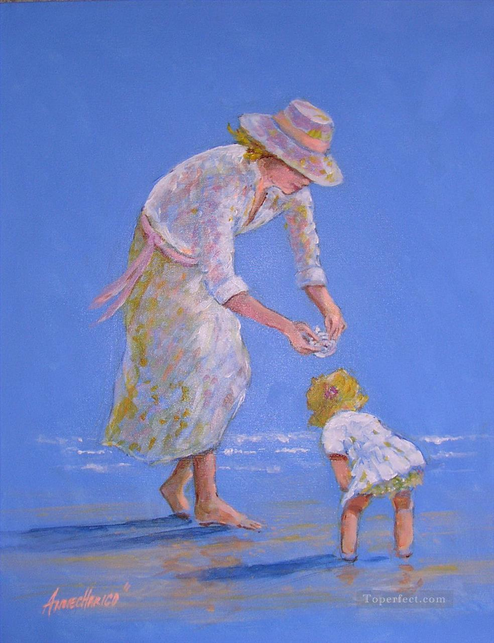 seaside treasure mother and child Oil Paintings