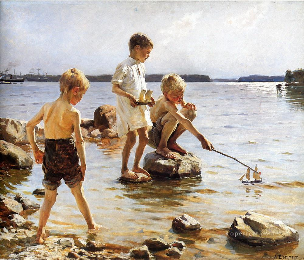 Boys Playing at the Beach Oil Paintings