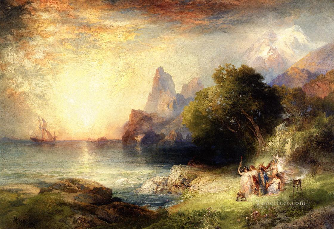 Ulysses and the Sirens landscape Thomas Moran Beach Oil Paintings