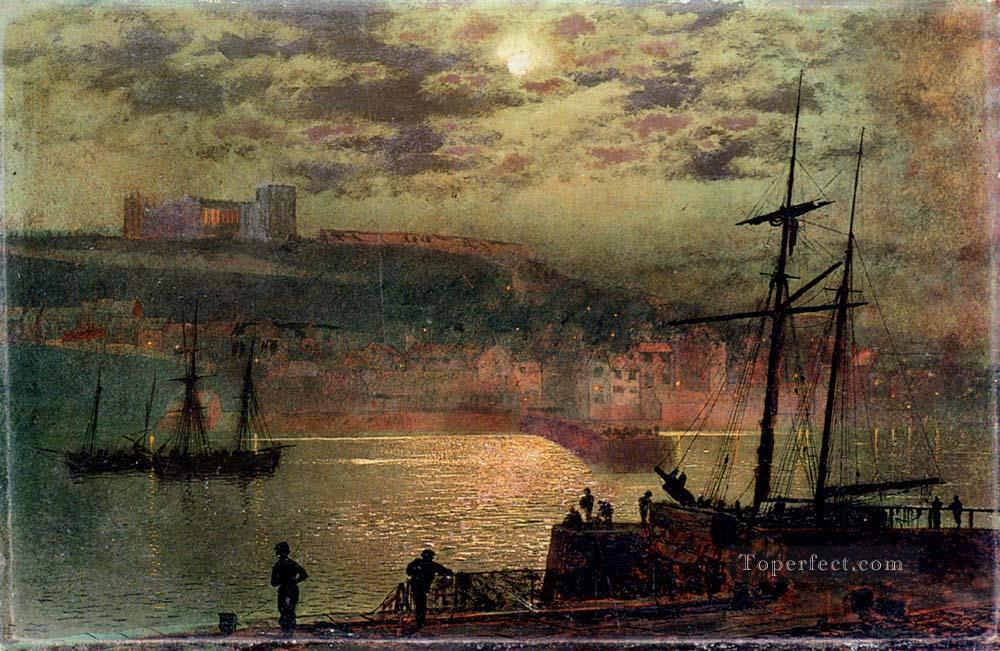 Whitby From Scotch Head city scenes landscape John Atkinson Grimshaw Beach Oil Paintings