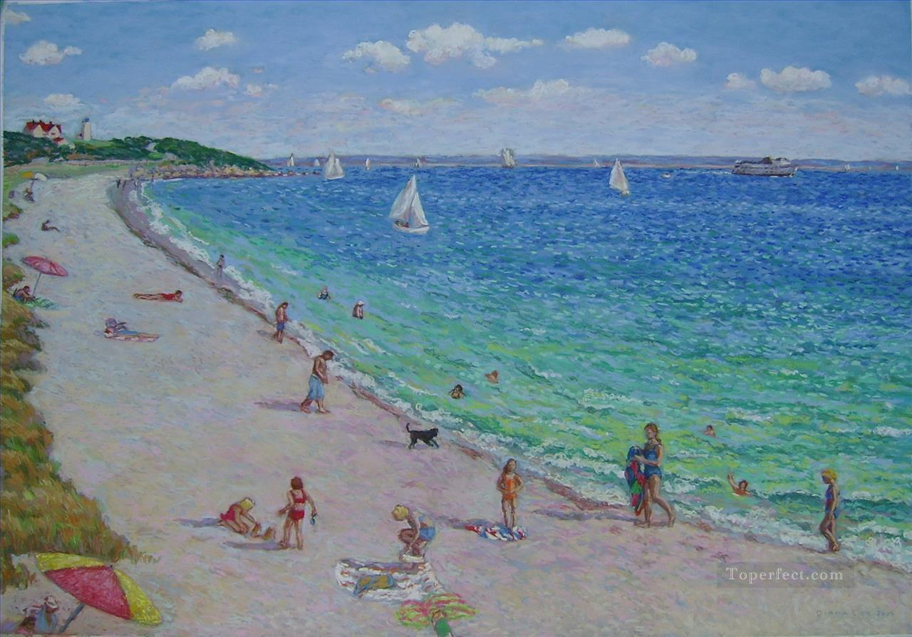 beach day at nobska Oil Paintings