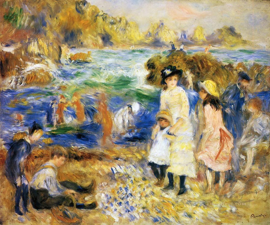 renoir beach scene guernsey Oil Paintings