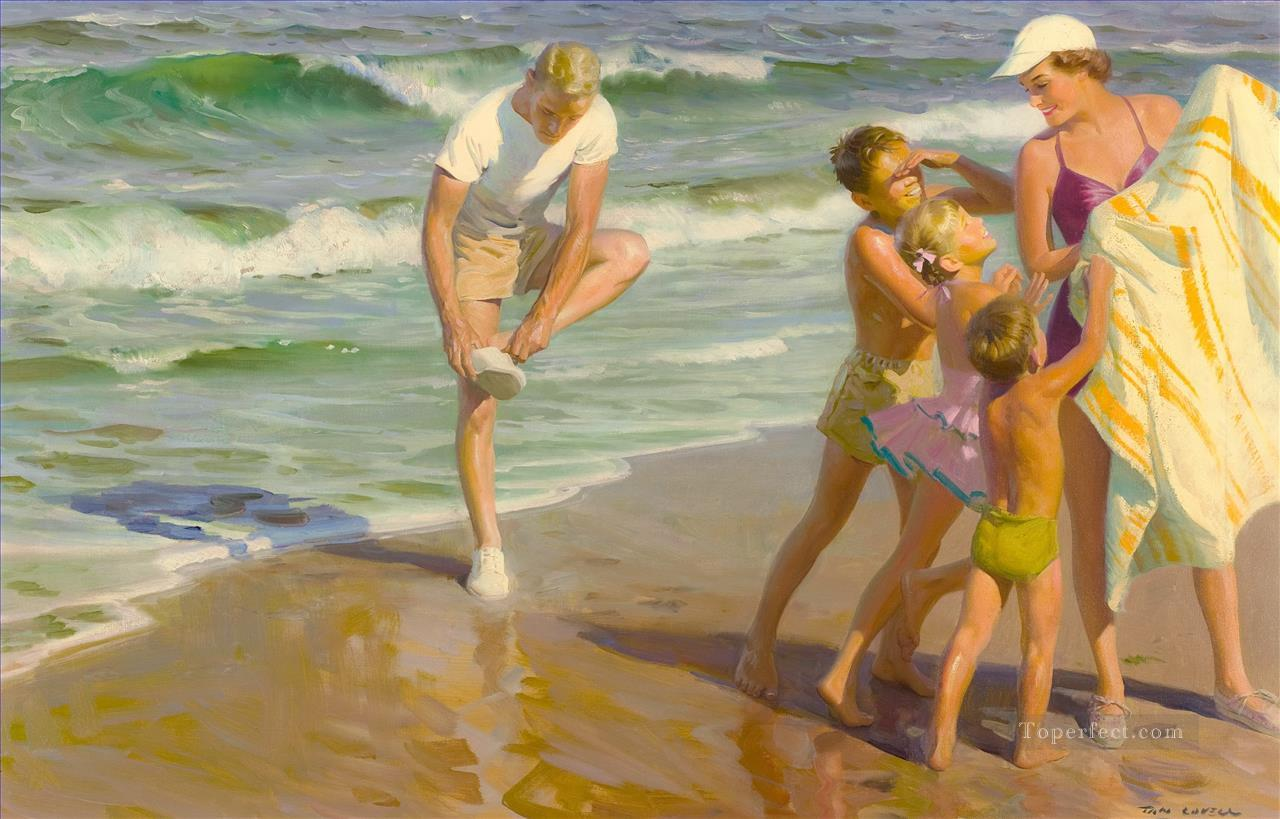 family at beach Oil Paintings
