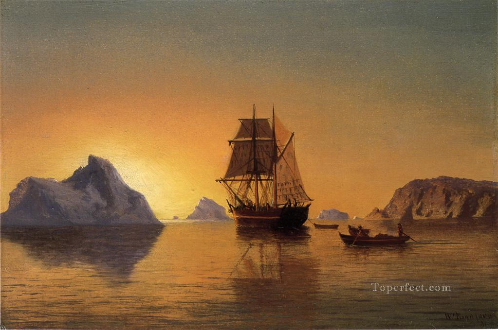 An Arctic Scene boat seascape William Bradford Oil Paintings