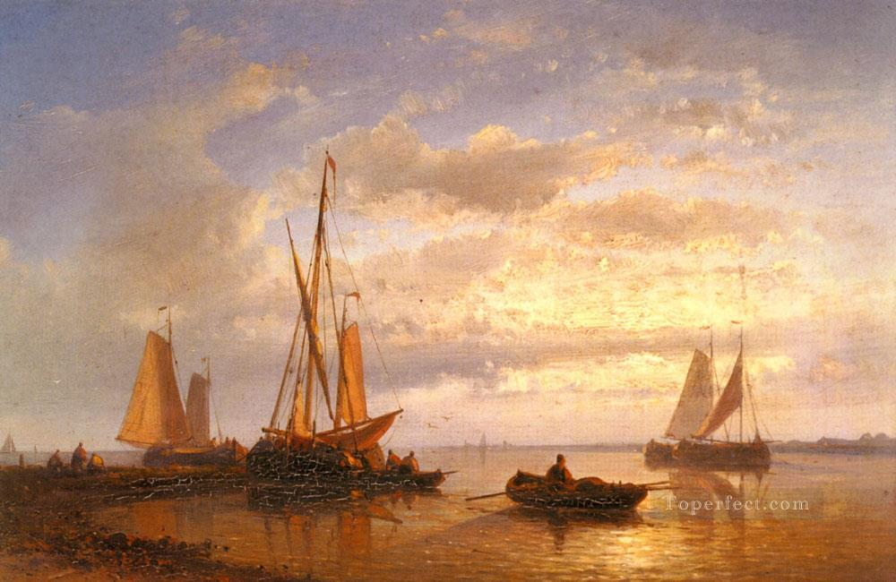 Dutch Fishing Vessels In A Calm At Sunset Abraham Hulk Snr boat seascape Oil Paintings