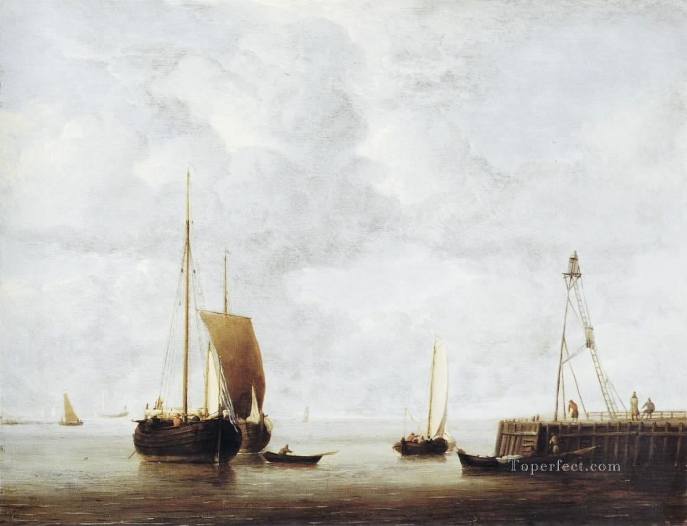 Hoeker marine Willem van de Velde the Younger boat seascape Oil Paintings