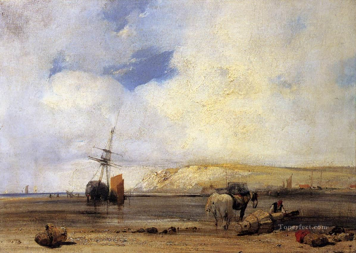 On The Coast Of Picardy boat seascape Richard Parkes Bonington Oil Paintings