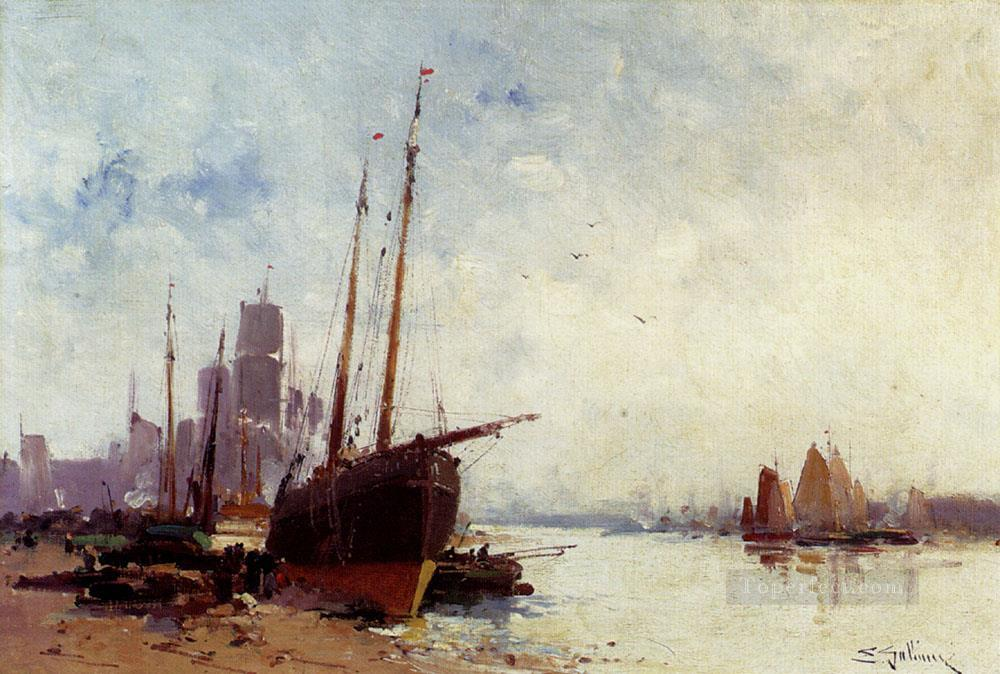 Shipping In The Docks boat gouache impressionism Eugene Galien Laloue Oil Paintings