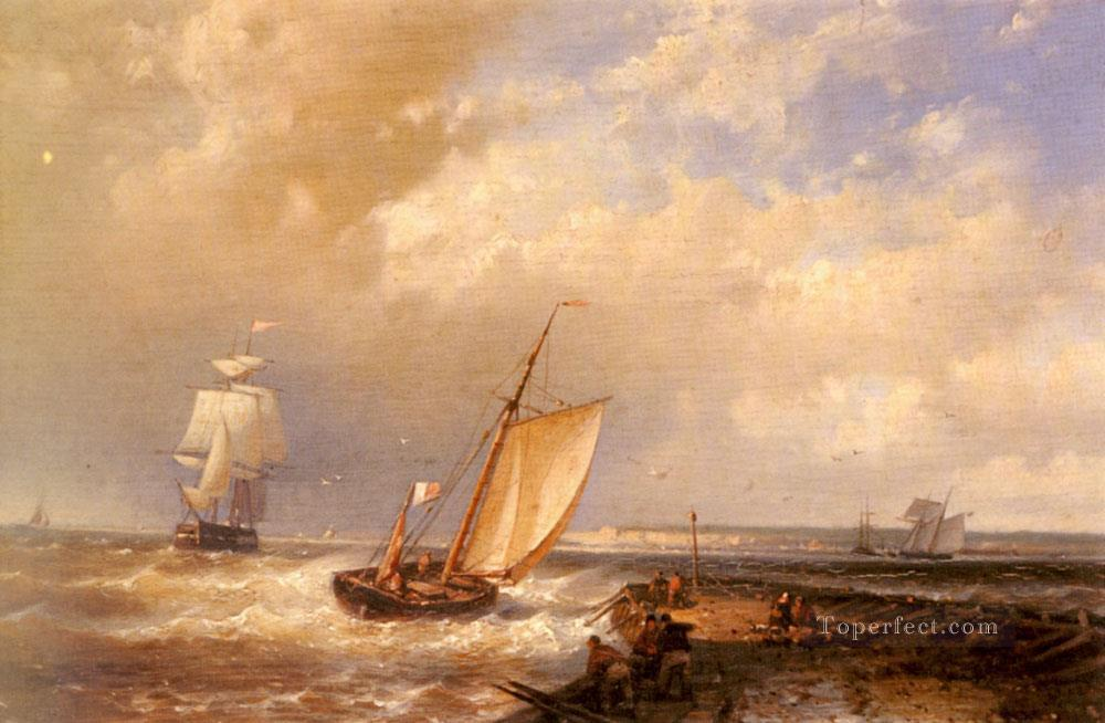 A Dutch Pink Heading Out To Sea With Shipping Beyond Abraham Hulk Snr boat seascape Oil Paintings