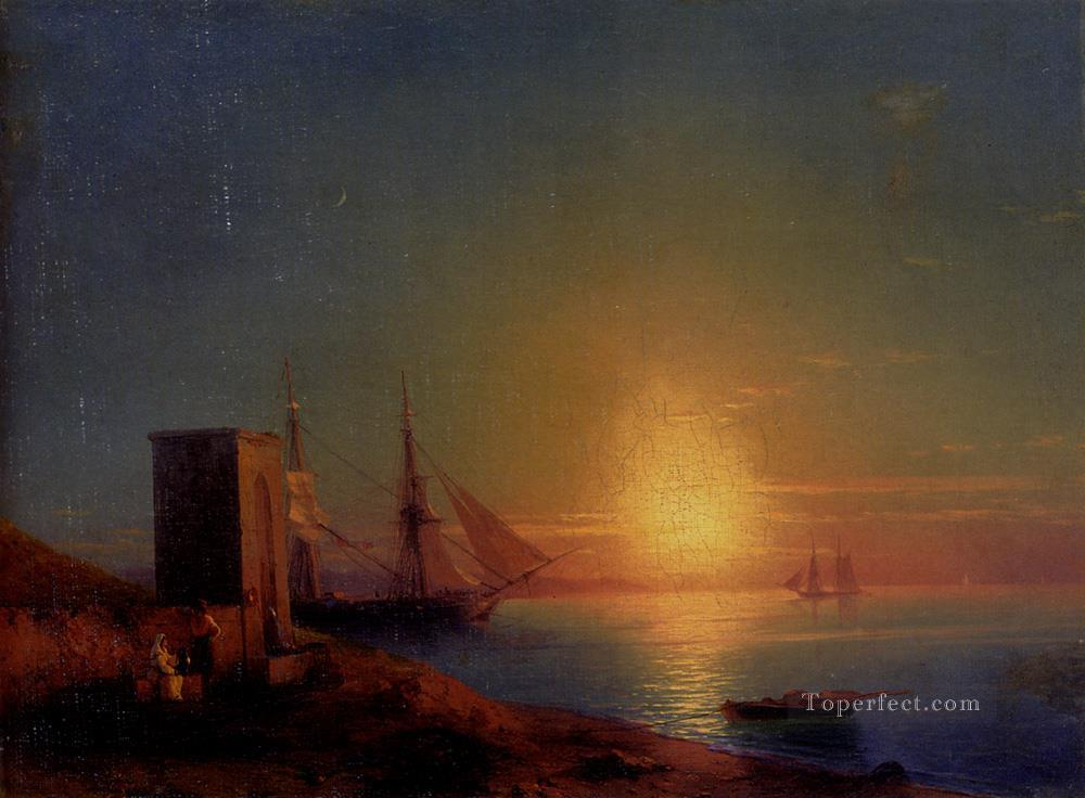 Aivazoffski Ivan Konstantinovich Figures In A Coastal Landscape At Sunset seascape boat Ivan Aivazovsky Oil Paintings