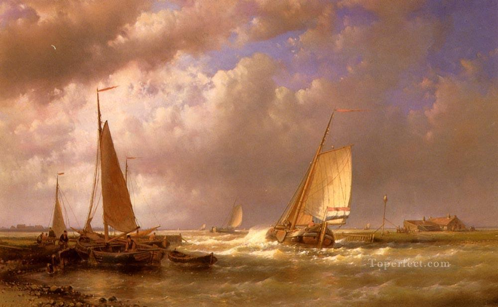 Dutch Barges At The Mouth Of An Estuary Abraham Hulk Snr boat seascape Oil Paintings