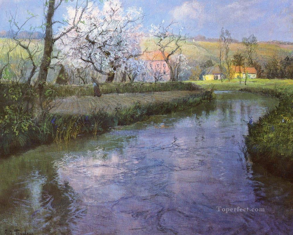 A French River Landscape impressionism Norwegian landscape Frits Thaulow Oil Paintings